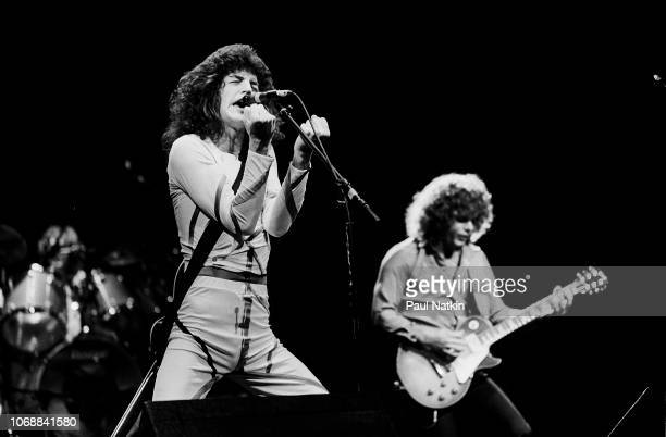 Kevin Cronin and Gary Richrath of REO Speedwagon at the Poplar Creek Music Theater in Hoffman Estates Illinois August 24 1980