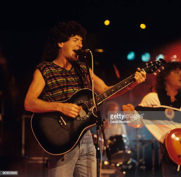 Kevin Cronin of REO Speedwagon performs on stage at the Montreux Rock Festival held in Montreux Switzerland in May 1985