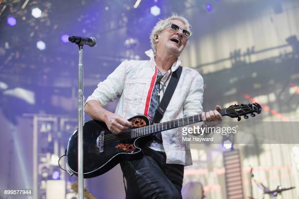 Kevin Cronin of REO Speedwagon performs on stage during the 'United We Rock Tour 2017' at White River Amphitheatre on June 21 2017 in Auburn...