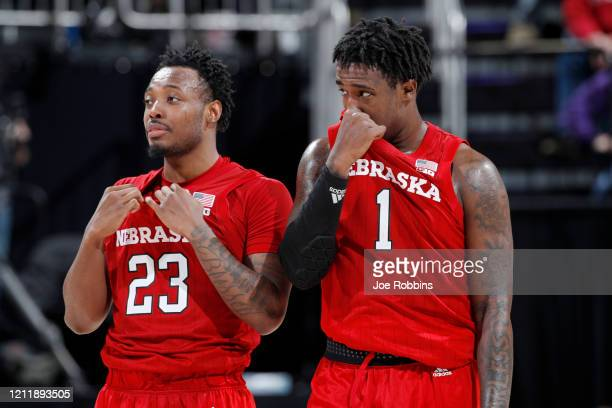 Kevin Cross and Jervay Green of the Nebraska Cornhuskers look on against the Indiana Hoosiers in the second half during the first round of the Big...
