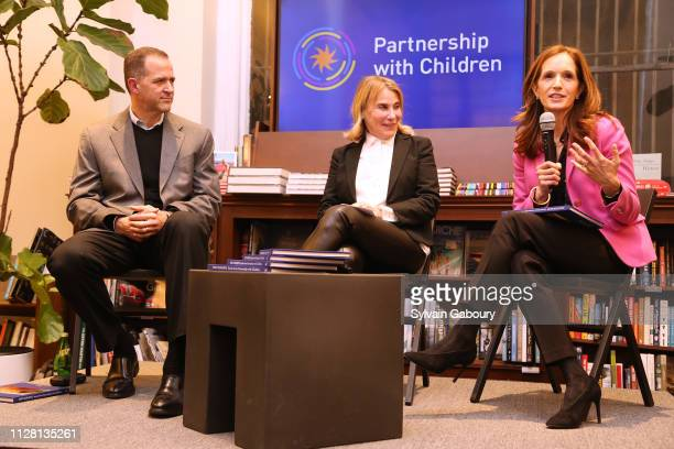 Kevin DahillFuchel Lisa Berg and Margaret Crotty attend Partnership With Children Book Launch With Rizzoli at Rizzoli Bookstore on February 27 2019...