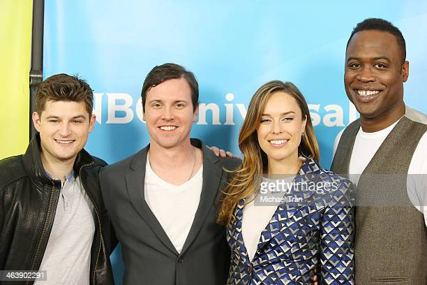 Kevin Daniels Jessica McNamee Michael Mosley and Kevin Bigley arrive at the NBC/Universal 2014 TCA Winter press tour held at The Langham Huntington...