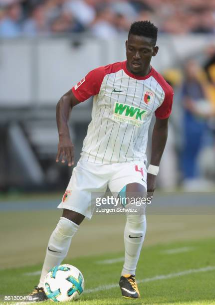 Kevin Danso of Augsburg controls the ball during the Bundesliga match between TSG 1899 Hoffenheim and FC Augsburg at Wirsol RheinNeckarArena on...
