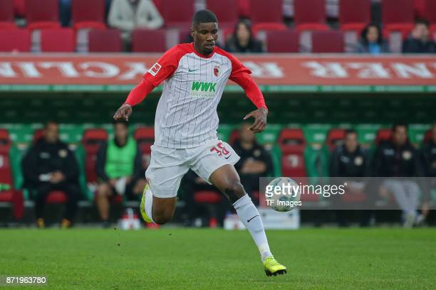 Kevin Danso of Augsburg controls the ball during the Bundesliga match between FC Augsburg and Bayer 04 Leverkusen at WWKArena on November 4 2017 in...