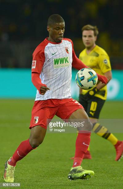 Kevin Danso of Augsburg controls the ball during the German Bundesliga match between Borussia Dortmund v FC Augsburg at the Signal Iduna Park on...