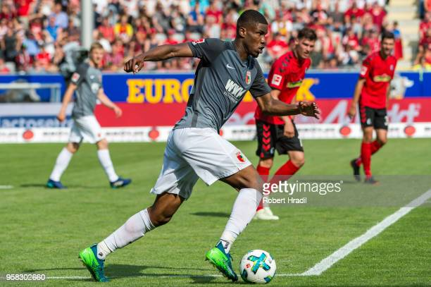 Kevin Danso of Augsburg in action during the Bundesliga match between SportClub Freiburg and FC Augsburg at SchwarzwaldStadion on May 12 2018 in...