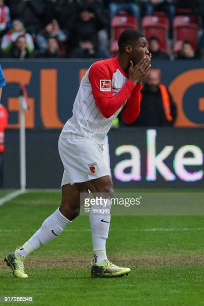 Kevin Danso of Augsburg looks dejected during the Bundesliga match between FC Augsburg and Eintracht Frankfurt at WWKArena on February 4 2018 in...