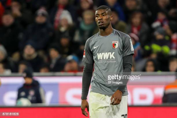Kevin Danso of Augsburg looks on during the Bundesliga match between FC Bayern Muenchen and FC Augsburg at Allianz Arena on November 18 2017 in...