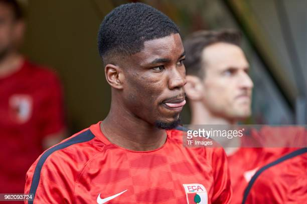 Kevin Danso of Augsburg looks on prior to the Bundesliga match between FC Augsburg and FC Schalke 04 at WWKArena on May 5 2018 in Augsburg Germany