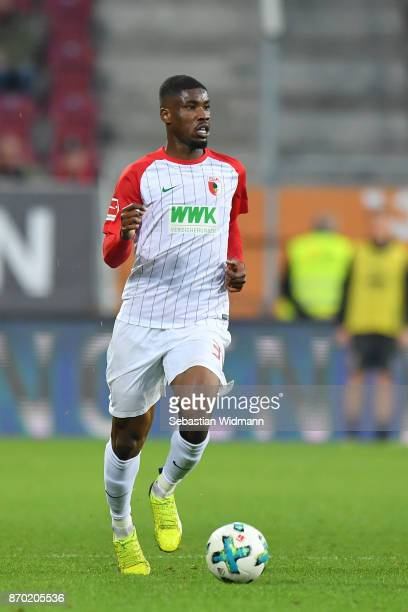 Kevin Danso of Augsburg plays the ball during the Bundesliga match between FC Augsburg and Bayer 04 Leverkusen at WWKArena on November 4 2017 in...
