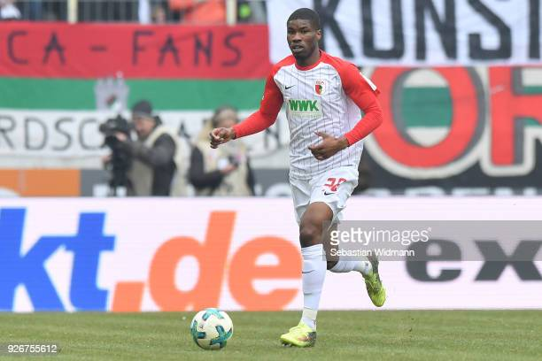 Kevin Danso of Augsburg plays the ball during the Bundesliga match between FC Augsburg and TSG 1899 Hoffenheim at WWKArena on March 3 2018 in...