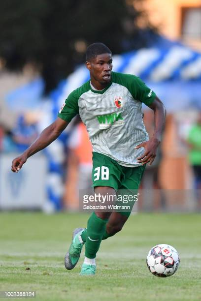 Kevin Danso of Augsburg plays the ball during the preseason friendly match between SC Olching and FC Augsburg on July 19 2018 in Olching Germany