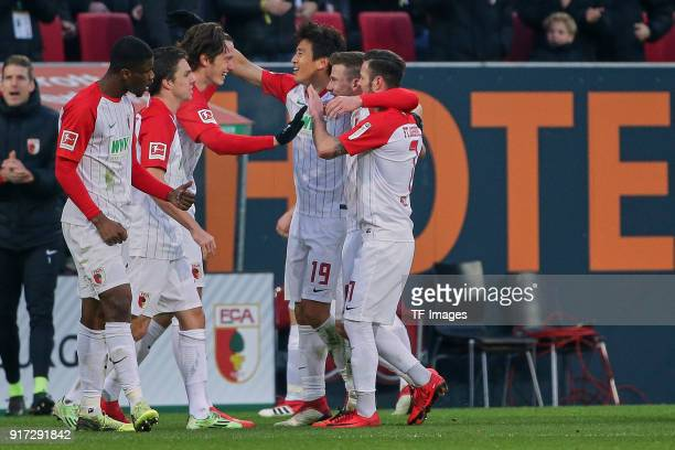 Kevin Danso of Augsburg Raphael Framberger of Augsburg Michael Grogoritsch of Augsburg JaCheol Koo of Augsburg Daniel Baier of Augsburg and Marcel...