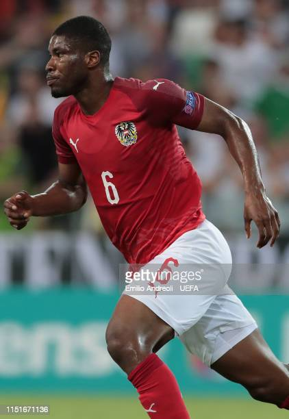 Kevin Danso of Austria celebrates his goal during the 2019 UEFA U21 Group B match between Austria and Germany at Stadio Friuli on June 23 2019 in...