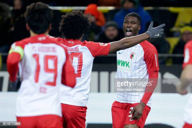 Kevin Danso of FC Augsburg celebrates 11 during the German Bundesliga match between Borussia Dortmund v FC Augsburg at the Signal Iduna Park on...