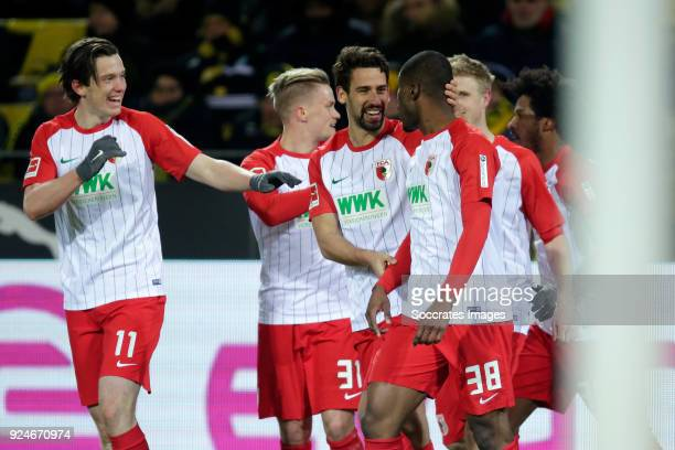 Kevin Danso of FC Augsburg celebrates 11 with Michael Gregoritsch of FC Augsburg Philipp Max of FC Augsburg Rani Khedira of FC Augsburg during the...
