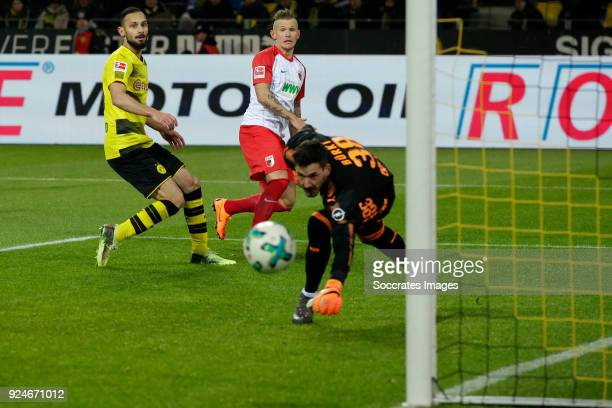 Kevin Danso of FC Augsburg scores the second goal to make it 11 during the German Bundesliga match between Borussia Dortmund v FC Augsburg at the...