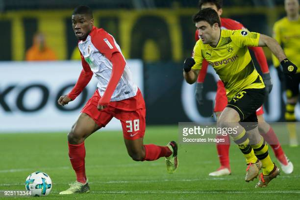 Kevin Danso of FC Augsburg Sokratis Papastathopoulos of Borussia Dortmund during the German Bundesliga match between Borussia Dortmund v FC Augsburg...
