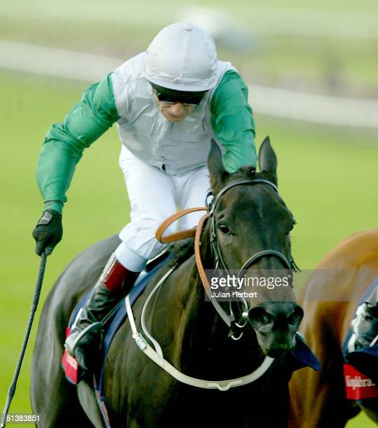 Kevin Darley and Attraction land The Sun Chariot Stakes Race run at Newmarket Racecourse on October 2 2004 in Newmarket England