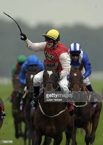 Kevin Darley and Bolin Eric land The St Leger Stakes run at Doncaster Racecourse in Doncaster on September 14, 2002.