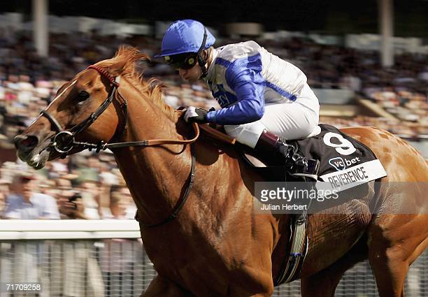 Kevin Darley and Reverence lead the field home to land The VC Bet Nunthorpe Stakes Race run at York Racecourse on August 24 2006 in York England