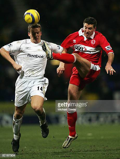 Kevin Davies of Bolton and Frank Queudrue of Middlesbrough in action during the Barclays Premiership match between Bolton Wanderers and Middlesbrough...