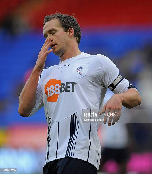 Kevin Davies of Bolton looks dejected after a missed chance during the FA Cup 3rd Round match between Bolton Wanderers v Lincoln City at the Reebok...
