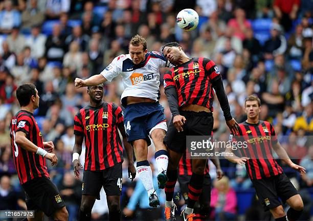 Kevin Davies of Bolton Wanderers scores his team's second goal during the Barclays Premier League match between Bolton Wanderers and Manchester City...