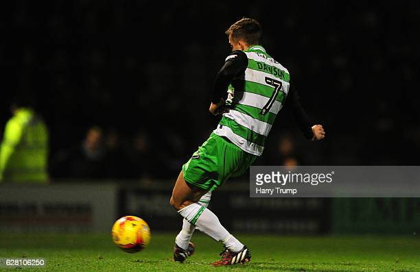 Kevin Dawson of Yeovil Town scores his side first goal during the EFL Checkatrade Trophy Second Round match between Yeovil Town and MK Dons at Hush...
