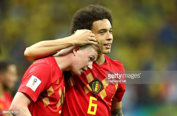 Kevin De Bruyne and Axel Witsel of Belgium celebrate following their sides victory in the 2018 FIFA World Cup Russia Quarter Final match between...