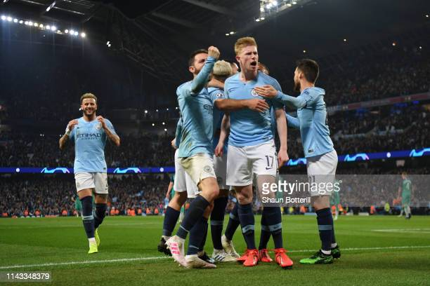 Kevin De Bruyne and Bernardo Silva of Manchester City celebrate with teammates after their team's fourth goal during the UEFA Champions League...
