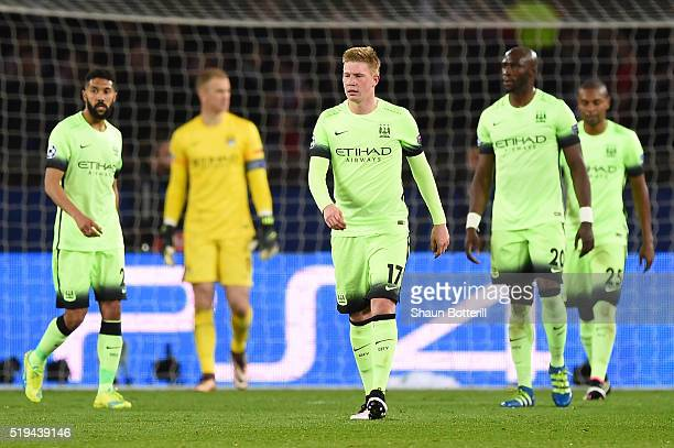 Kevin de Bruyne and Manchester City players show dejection after Pris SaintGermain's second goal during the UEFA Champions League Quarter Final First...