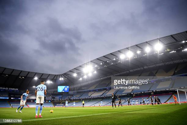 Kevin De Bruyne and Riyad Mahrez of Manchester City prepare to take a free kick during the Premier League match between Manchester City and Burnley...