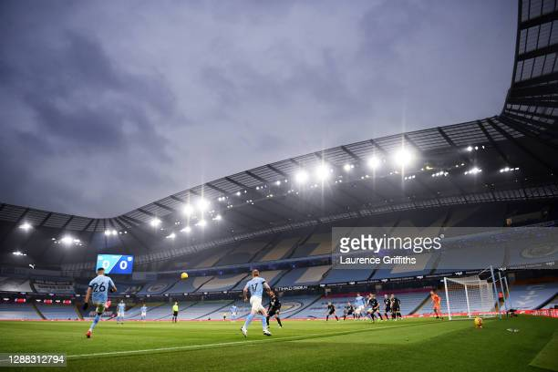 Kevin De Bruyne and Riyad Mahrez of Manchester City take a free kick during the Premier League match between Manchester City and Burnley at Etihad...