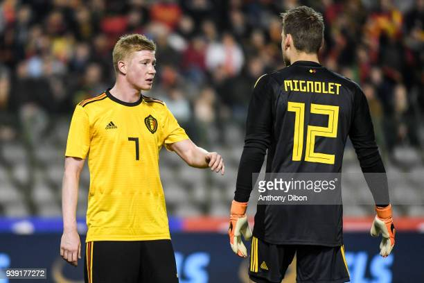 Kevin De Bruyne and Simon Mignolet of Belgium during the International friendly match between Belgium and Saudi Arabia on March 27 2018 in Brussel...