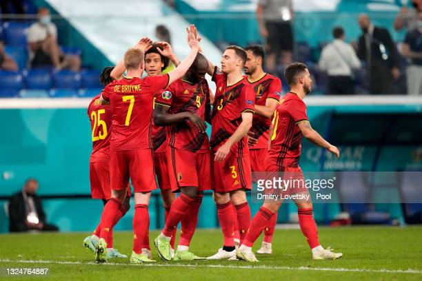 Kevin De Bruyne, Axel Witsel, Romelu Lukaku and Thomas Vermaelen of Belgium celebrate their side's first goal, an own goal by Lukas Hradecky of...