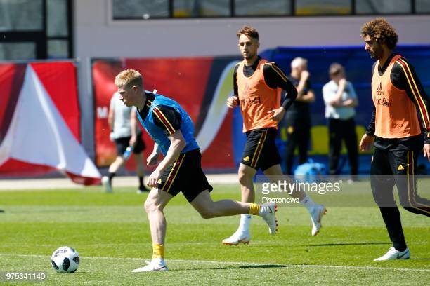 Kevin De Bruyne forward of Belgium and Marouane Fellaini midfielder of Belgium during a training session of the National Soccer Team of Belgium as...