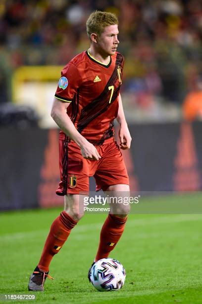 Kevin De Bruyne forward of Belgium in action during the Euro 2020 group I qualifying match Belgium against Cyprus on November 19, 2019 in Brussels,...