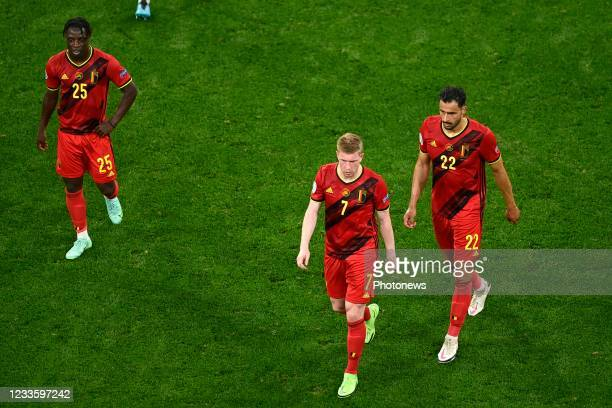 Kevin De Bruyne forward of Belgium, Jeremy Doku forward of Belgium and Nacer Chadli midfielder of Belgium pictured during the 16th UEFA Euro 2020...