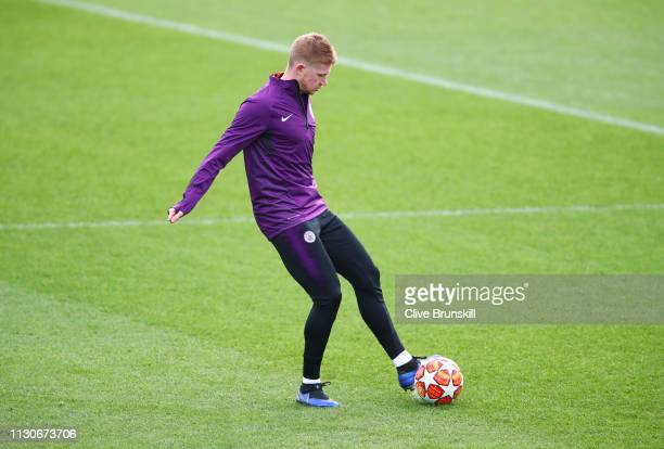 Kevin De Bruyne in action during a Manchester City training session at Manchester City Football Academy on February 19 2019 in Manchester England