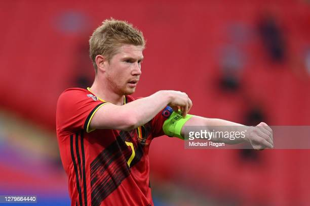 Kevin De Bruyne of Belgium adjusts his armband during the UEFA Nations League group stage match between England and Belgium at Wembley Stadium on...