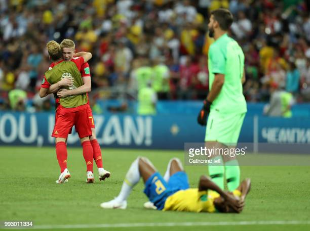 Kevin De Bruyne of Belgium and Dries Mertens of Belgium celebrate following their sides victory in the 2018 FIFA World Cup Russia Quarter Final match...
