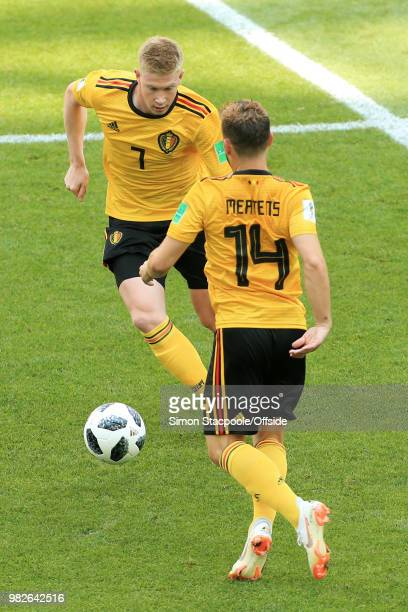Kevin De Bruyne of Belgium and Dries Mertens of Belgium in action during the 2018 FIFA World Cup Russia Group G match between Belgium and Tunisia at...