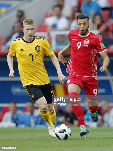 Kevin De Bruyne of Belgium Anice Badri of Tunisia during the 2018 FIFA World Cup Russia group G match between Belgium and Tunisia at the Otkrytiye...