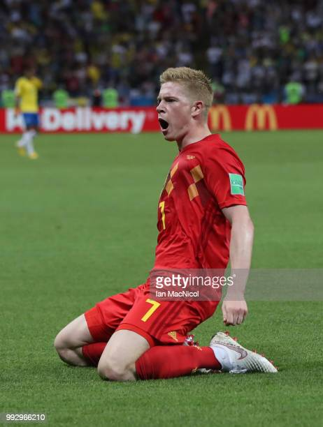 Kevin De Bruyne of Belgium celebrates after he scores his team's second goal during the 2018 FIFA World Cup Russia Quarter Final match between Winner...