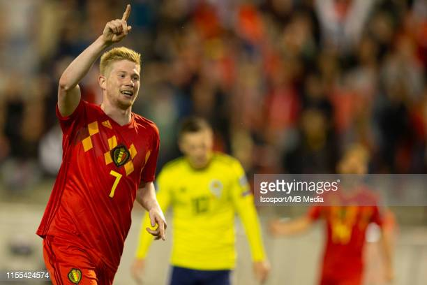 Kevin De Bruyne of Belgium celebrates after scoring a goal during the 2020 UEFA European Championships group I qualifying match between Belgium and...
