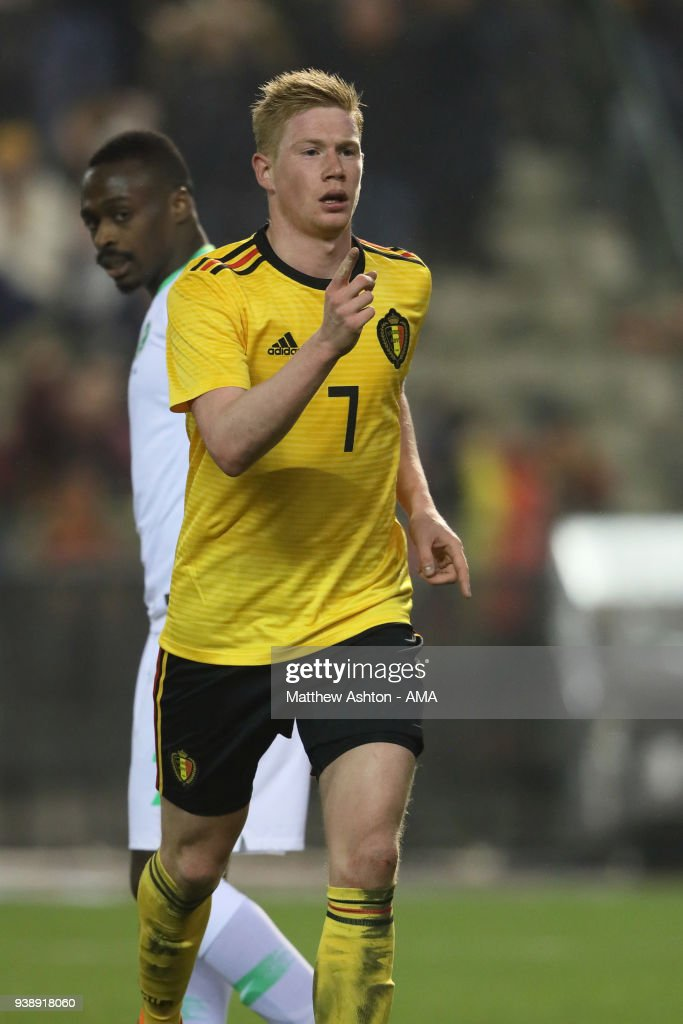 Kevin De Bruyne of Belgium celebrates after scoring a goal to make it 4-0 during an International Friendly between Belgium and Saudi Arabia on March 27, 2018 in Brussel, Belgium.