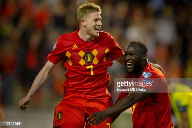 Kevin De Bruyne of Belgium celebrates after scoring a goal with Romelu Lukaku of Belgium during the 2020 UEFA European Championships group I...