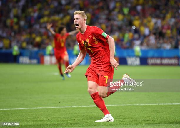 Kevin De Bruyne of Belgium celebrates after scoring his team's second goal during the 2018 FIFA World Cup Russia Quarter Final match between Brazil...