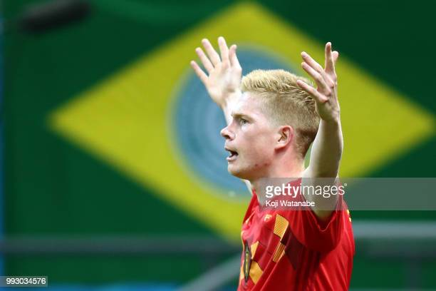 Kevin De Bruyne of Belgium celebrates after scoring his team's second during the 2018 FIFA World Cup Russia Quarter Final match between Brazil and...